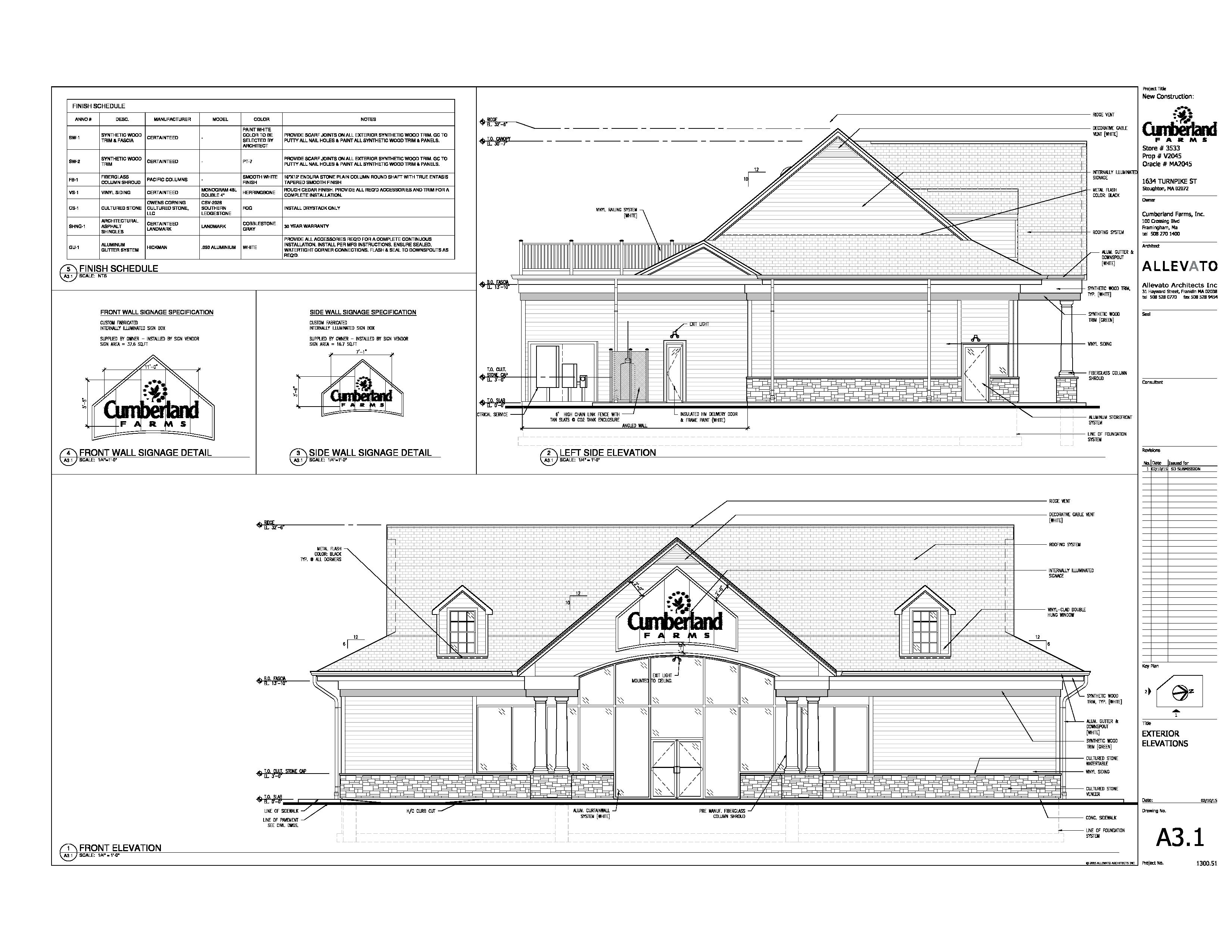 A new 4,750 square foot Cumberland Farms Convenience Store was approved by the Zoning Board of Appeals on April 16, 2015. Located at 1634 Turnpike Street (Route 139) in Stoughton, MA, The project is currently under construction with a planned opening this fall.